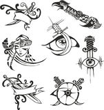 Set of tribal tattoo stencils with blades Stock Photos