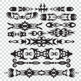 Set of tribal tattoos elements in black color for design, Royalty Free Stock Image