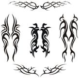 Set of  tribal vector tattoos. Set of  tribal tattoos - vector illustration Royalty Free Stock Image