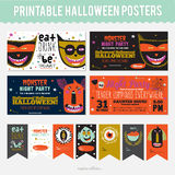 Set Trick or Treat Poster Cards and Stickers Royalty Free Stock Image