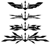 Set of trident tattoo in black isolated Stock Images