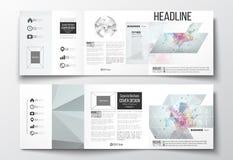 Set trifold broszurki, kwadratowi projektów szablony Cząsteczkowa budowa z związanymi liniami i kropkami naukowymi, Obrazy Royalty Free
