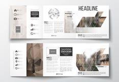 Set trifold broszurki, kwadratowi projektów szablony Poligonalny tło, zamazany wizerunek, miastowy krajobraz, nowożytny elegancki Obrazy Stock