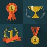 Set trofeum i nagród ikony Obraz Stock