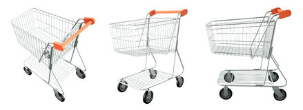 Set of trolley from the supermarket Royalty Free Stock Images