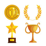 Set trophies competition awards Stock Photos