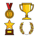 Set trophies competition awards Royalty Free Stock Image