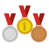 Set trophies competition awards. Vector illustration design Stock Photography