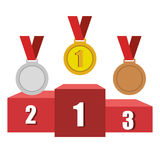 Set trophies competition awards Stock Images