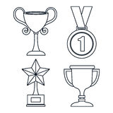 Set trophies competition awards Stock Image