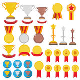 Set of trophies, medals, icons and ribbons for winners in compet Royalty Free Stock Photography