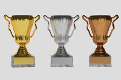 Set of trophies on white. Illustration Royalty Free Stock Images