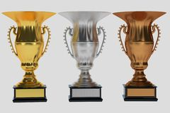 Set of trophies on white. Illustration Stock Images
