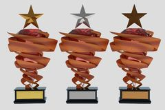Set of trophies on white stock photography