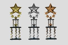Set of trophies on white stock photos