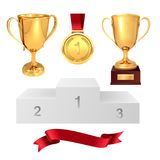 A set of trophies of the winner. Golden cups, gold medal, red ribbon and pjadestal. Isolated on white background. Vector.  Stock Photos