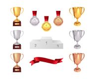 A set of trophies of the winner. Golden, silver and bronze cups, gold medal, red ribbon and pjadestal. Isolated on white backgroun. D. Vector Stock Photo