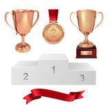 A set of trophies of the winner. Third place. Bronze cups, gold medal, red ribbon and pjadestal. Isolated on white background. Vec. Tor Royalty Free Stock Images
