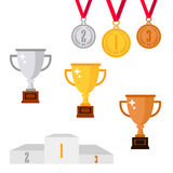 Set of trophy award icons isolated on white background. Golden, Silver and bronze cup, awards and medals Royalty Free Stock Photos