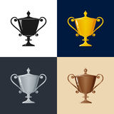 Set of Trophy Cup of Winners Royalty Free Stock Image