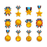 Set of trophy and medals. Vector illustration Stock Photos