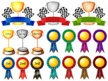 Set of trophy and ribbons Stock Photos