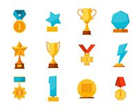 Set trophy winner award collection isolated on white background. Hanging medals, glass awards, gold cups in flat style Royalty Free Stock Photography
