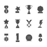 Set trophy winner award icon collection isolated on white background. Prizes and rewards silhouettes. Royalty Free Stock Image