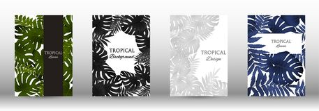 A set of tropic. Al covers. Tropical leaves banners background. Summer graphic background. Modern Front Page in Vector royalty free illustration