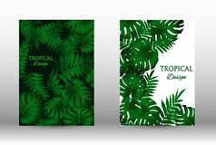 A set of tropic. Tropic covers set.  Tropical leaves banners background. Exotic botanical design. Modern Front Page in Vector royalty free illustration