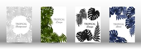A set of tropic. Al covers. Tropical leaves banners background. Exotic botanical design. Modern Front Page in Vector vector illustration