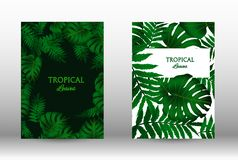 A set of tropic. Al covers. Tropical leaves banners background. Exotic botanical design. Modern Front Page in Vector stock illustration