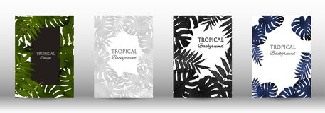 A set of tropic. Al covers. Tropical leaves banners background. Exotic botanical design. Modern Front Page in Vector royalty free illustration