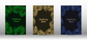A set of tropic. Al covers. Tropical leaves banners background. Summer graphic background. Modern Front Page in Vector stock illustration