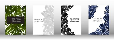 A set of tropic. Al covers. Tropical leaves banners background. Summer graphic background. Modern Front Page in Vector vector illustration