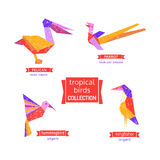 Set of tropical bird icons. Freehand drawn cartoon stylized emblem. Template of logo design. Colorful symbol sign isolated on white. Textured grunge element royalty free illustration