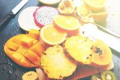Set Tropical Cut Fruits Water Melon Papaya Pine Royalty Free Stock Image