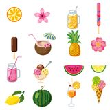 Set of tropical cute summer icons, fruits, ice cream tropical cocktailes cartoon style, isolated. Set of tropical cute summer icons, fruits, ice cream tropical Stock Photo