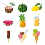 Set of tropical cute summer icons, fruits, ice cream tropical cocktailes cartoon style, isolated. Set of tropical cute summer icons, fruits, ice cream tropical Royalty Free Stock Photography