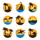 Set tropical flat circle tropical icon, palm, dolphine, sailboat Stock Image