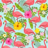 Set of tropical flowers of leaves and birds. Seamless pattern with flamingo, tropical leaves and flowers on background Stock Photo