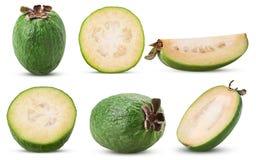 Set tropical fruit feijoa whole, cut in half, slice stock photo