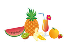 Set of tropical fruits. Vector illustration of exotic fruits. White background with fruits. Still Life with Fruits. Summer fruit mix with a cocktail Stock Photo
