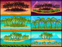 Set of Tropical Game Backgrounds Stock Images