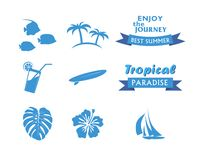 Set of Tropical Icons in flat style Stock Images