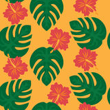 Set of tropical palm leaves and flowers hibiscus flower hawaii, exotic summer flower background Stock Photo