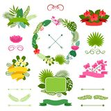 Set of tropical plants wreath, ribbons and labels Stock Images