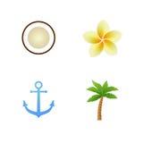 Set tropische Ikonen Stockbilder