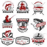 Set of trout fishing emblems isolated on white background. Design elements for logo, label, emblem, poster, t-shirt. Vector illus stock illustration