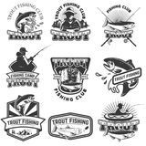 Set of trout fishing emblems isolated on white background. Desig. N elements for logo, label, poster, t-shirt. Vector illustration Stock Photography